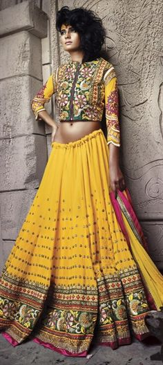 RURAL INDIA BRIDE: look like village belle on D-day with this #lehenga - Order now!!  #NeonYellow #IndianWedding #bride #indianfashion #yellow #springsummer #partywear