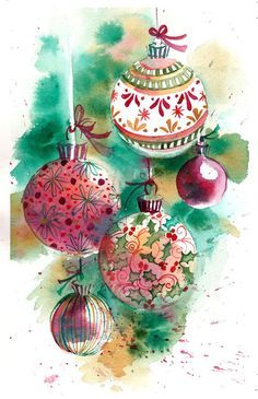 Original Watercolor Print of a Painting Christmas Ornaments Wall Art/ Decoration…