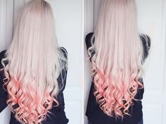 Long white blonde hair with pink.