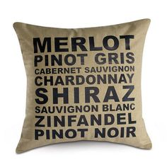 Wine Words Decorative Pillow $24.99
