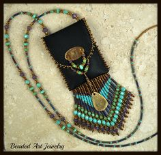 Beaded Beadwork by beadedartjewelry. Found on etsy - I want to learn how to make one for myself as a cell phone holder. So cute!