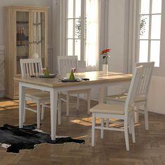 Ausziehtisch küche  Esszimmertisch in Weiß Birke Massivholz Jetzt bestellen unter ...