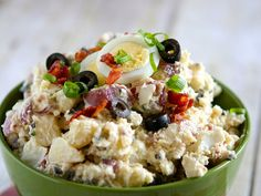 The best potato salad _ in alllll the land. Shrimp Pasta Recipes, Chicken And Shrimp Pasta, Chicken Recipes, Vegetable Recipes, Potato Salad With Egg, Easy Potato Salad, Potato Salad Dressing, Bacon Dishes, Healthy Salad Recipes