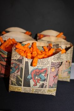 Comic wraps for sandwiches and fries for boy's superhero themed birthday party.