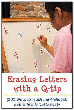 Erasing letters with a Q-tip is a simple-to-set-up activity that works on letter recognition, the proper strokes for writing letters, and fine motor skills needed for writing. I love how this activity can be adapted to help kids with any letters of the al Preschool Writing, Preschool Letters, Kindergarten Literacy, Preschool Learning, Letters Kindergarten, Teaching The Alphabet, Learning Letters, Writing Letters, Alphabet Games