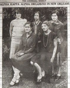 On July 23, 1927 the Alpha Beta Chapter of Alpha Kappa Sorority was chartered in New Orleans, Louisiana by seven visionary women. Its members enjoyed the distinction of becoming the 1st Black Greek Letter sorority in the State of Louisiana as well as the 30th graduate chapter of Alpha Kappa Alpha Sorority, Incorporated.  Pictured above are its 1927 officers – Standing (left to right) – Hattie Price Jones, Lucille A. Dejoie, Susie Ione Brown.  Seated - Mary Henrietta Jones, Betty Estelle…