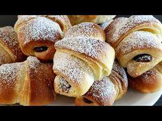 Croissante cu Nutella / Cum sa faci Croissante - YouTube Romanian Desserts, Nutella, Croissant, French Toast, Sweets, Bread, Breakfast, Youtube, Food