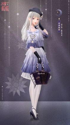 Anime Girl Dress, Anime Girl Cute, Anime Art Girl, Star Fashion, Fashion Art, Anime Girl Crying, Wedding Wine Glasses, Nikki Love, Lovely Girl Image
