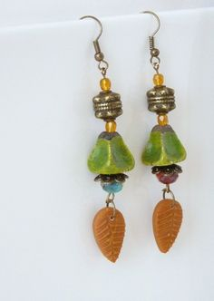 Beaded Earrings Boho Chic Dangle Earrings Autumn by bleuluciole