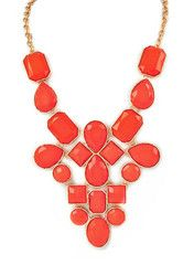 Coral Jewel Statement Necklace - modeets (US) $ 33