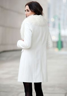 White Faux Wool Knee-Length Coat with Faux Fur Collar