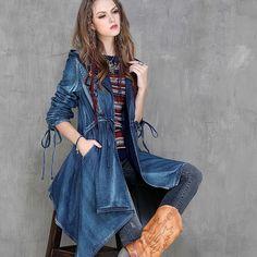 Женский джинсовый плащ в стиле Бохо Где купить: http://ali.pub/zsk12