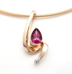 14k gold necklace - pink tourmaline - diamond - October birthstone - pear shape - contemporary jewelry - 3380