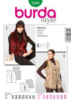 burda style 7289 Faux fur vest gilet
