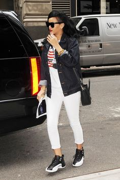 What to Wear: With White Pants // Rihanna does a denim jacket and some seriously cool sneakers
