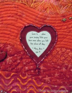 close up, beaded heart. The Love Quilt by Christine Nelson - 2014 Tucson Quilt Fiesta. Photo by Quilt Inspiration