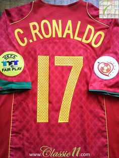 Relive Cristiano Ronaldo s Euro 2004 with this vintage Nike Portugal home football  shirt. e8af2d65a