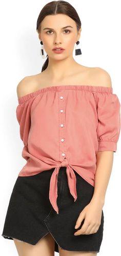 2f0364e04db52 Vero Moda Casual Half Sleeve  Solid Women  Pink  Top  absolutefashionista   fashion  fashionista  fashionblogger  style  stylish  kurti  women   womensfashion ...