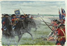Charge of the French horse guards against British infantry at the Battle of Fontenoy