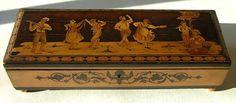 Charming Antique French Inlaid Folk Dance Music Box w Reuge Swiss Movement   eBay