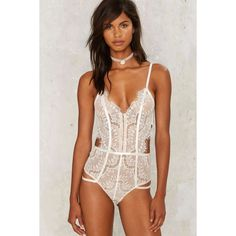 Lavish Alice Flutter Free Lace Bodysuit ($68) ❤ liked on Polyvore featuring intimates, shapewear and white