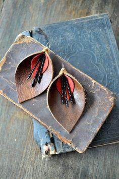 Song of Songs Genuine Leather Earrings