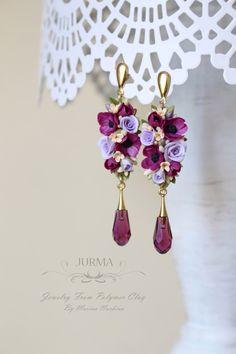 Marina Nurkina lavender and red flower earrings, drop long earrings Polymer Clay Flowers, Polymer Clay Crafts, Handmade Polymer Clay, Polymer Clay Earrings, Resin Jewelry, Jewelry Crafts, Earrings Handmade, Handmade Jewelry, Bijoux Diy