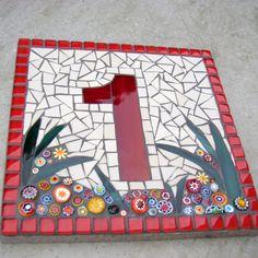Custom Mosaic House Number Sign Plaque Street by FunkyMosaicsUK