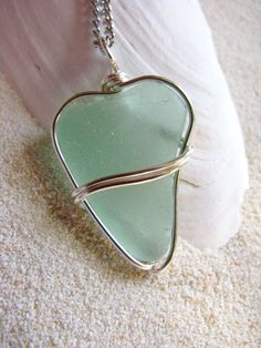 Sea glass heart