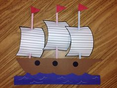 Christopher Columbus craft / Mayflower craft.  1st grade. Students will be writing 3 details on the sails of the Mayflower.