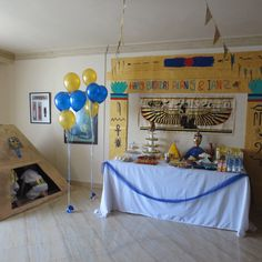 An Egyptian birthday party for a 5 and a 2 year old boys: temple and pyramid