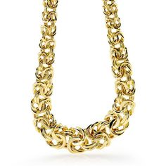 Such a beautiful necklace! A byzantine chain consists of multiple oval links that are connected in such a way as to form an intricate woven chain.   14k yellow Gold Graduated Byzantine Necklace [Promotional Pin]
