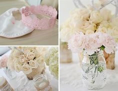 Mason Jars with Lace and Burlap - what darling party decor!