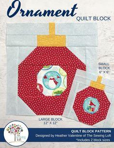 Ornament Quilt Block | Blocks 2 Quilt - The Sewing Loft Beginner Quilt Patterns, Quilt Patterns Free, Pattern Blocks, Sewing Patterns, Christmas Quilt Patterns, Christmas Sewing, Christmas Crafts, Christmas Ornaments, Batik Quilts