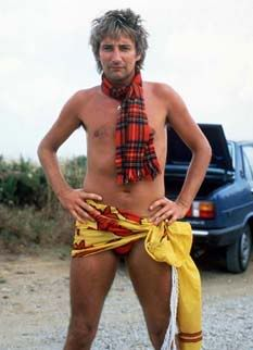 Rod Stewart- an ensemble so wrong its right (the scarf ties the thing together)