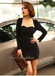 Morpheus Boutique  - Black Long Sleeve Empire Waist High Shoulder Banded clubwear Mini Dress