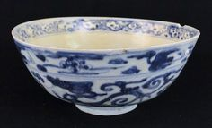 Antique Chinese Provincial Ming Dynasty Porcelain Blue White Bowl | eBay
