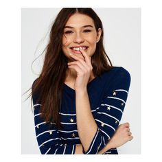 Superdry Conversational Breton Top (£28) ❤ liked on Polyvore featuring tops, blue, superdry, 3/4 length sleeve tops, blue top, gold top and breton stripe top