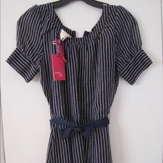"Tommy girl striped dress- blue- juniors large Belted elastic dress.. Zippered back closure. Length is approx. 34"". Fully lined Tommy Hilfiger Dresses Mini"
