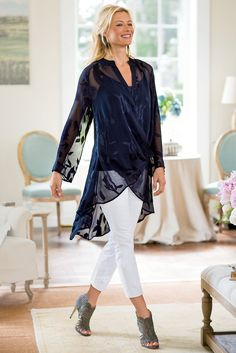Customize your look in this Silk Convertible Shirt & Cami with strategically placed snaps to wear long and loose, draped at the shoulders or flowing from the waist.