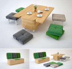 Increasingly more people choose multifunctional furniture these days owing to the space problems. Many of them are very practical and looks great, like this convertible sofa that can be easily transformed into a small dining table with six padded stools for your extra guests. While the seat turns doubles as six padded stools, the backrest transforms into a countertop. This convertible sofa was designed by Julia Kononenko, and is a highly functional furniture piece if you cannot afford more…