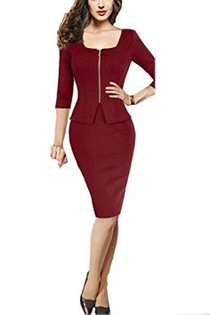 Viwenni Womens Square Neck Busniess Peplum Fitted Casual Bodycon Dress Medium Darkred -- Details can be found by clicking on the image. Work Appropriate Halloween Costumes, Peplum Dress, Bodycon Dress, Lingerie Accessories, Dresses For Work, Formal Dresses, Night Gown, Latest Fashion Trends, New Dress