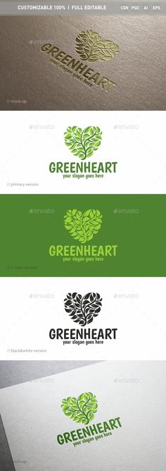 Green Heart Logo Template — Photoshop PSD #tree #guru • Available here → https://graphicriver.net/item/green-heart-logo-template/14985008?ref=pxcr