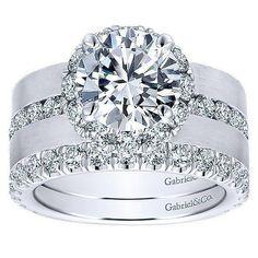 DIAMOND ENGAGEMENT RINGS - 18K White Gold Wide Brushed Channel Set Diamond Engagement Ring #diamonds