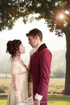 Lee Avison romantic regency couple beneath tree in garden Couples