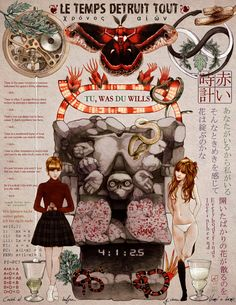 """Red Clock"" -- asuka langley evangelion absinthe snake moth aztec clockwork poetry poem kabukicho アスカ 新世紀エヴァンゲリオン 誕生日"