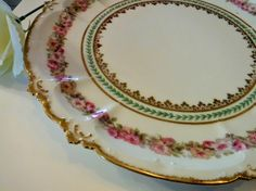 Cottage Chic Plate Decor, CH Field Haviland LIMOGES GOA France, Gorgeous Plate with Pink Flowers, green and Gold Trim approx 10 inch, Plate by BeautyMeetsTheEye on Etsy