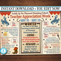e072945a5c2 EDITABLE Western Themed Teacher Appreciation Week Itinerary Poster