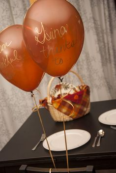 Share a Message of Thanks with Simple, Classy Balloon Décor - Thanksgiving Balloons Thanksgiving Blessings, Thanksgiving Preschool, Thanksgiving Traditions, Thanksgiving Feast, Thanksgiving Decorations, Thanksgiving Recipes, Holiday Parties, Holiday Fun, Cata