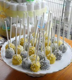 Yellow+Grey+Wedding+Cake+with+a+Blue+Aura+Lili | Gray and Yellow cake pops, I made for Laura's baby shower
